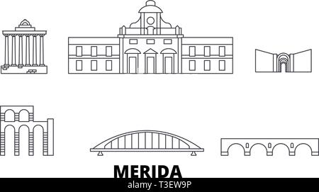 Spain, Merida line travel skyline set. Spain, Merida outline city vector illustration, symbol, travel sights, landmarks. - Stock Photo
