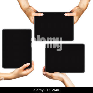 Set of mockups of black tablets in women's hands, concept of mobile shopping - Stock Photo