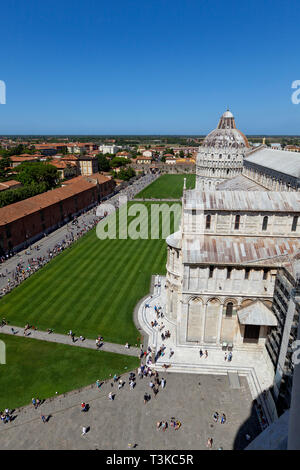 View of Piazza dei Miracoli from the top of the Leaning Tower of Pisa - Stock Photo