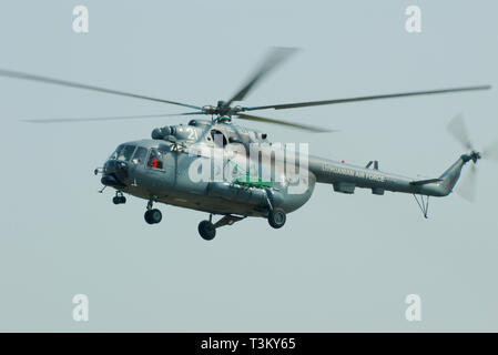Lithuanian Air Force Mil Mi-8MTV-1 Hip medium helicopter flying - Stock Photo
