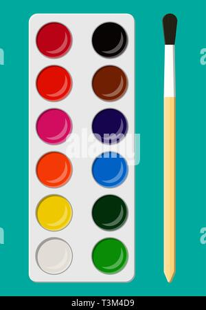 Set of bright watercolor paints in box with paint brush for kids. Colorful watercolour box. Different colors palette. Tool for designer, illustrator,  - Stock Photo