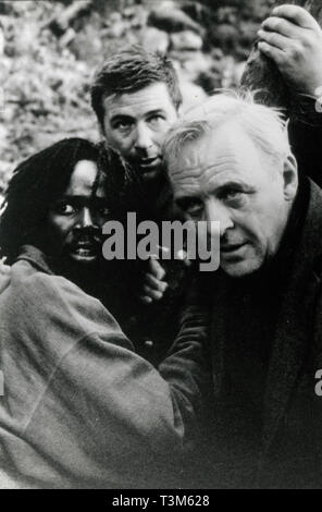 Harold Perrineau, Alec Baldwin, and Anthony Hopkins in the movie The Edge, 1997 - Stock Photo