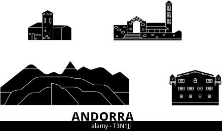 Andorra flat travel skyline set. Andorra black city vector illustration, symbol, travel sights, landmarks. - Stock Photo