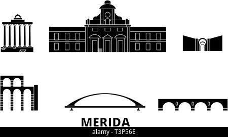 Spain, Merida flat travel skyline set. Spain, Merida black city vector illustration, symbol, travel sights, landmarks. - Stock Photo