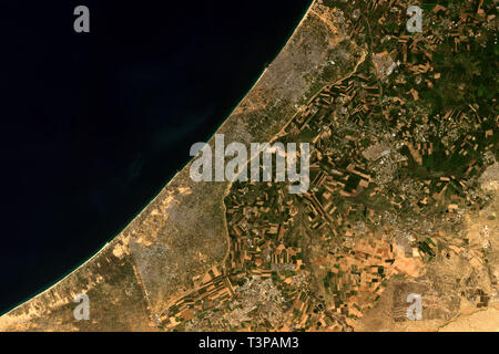 The Gaza Strip, a self-governing Palestinian territory seen from space - contains modified Copernicus Sentinel Data (2019) - Stock Photo
