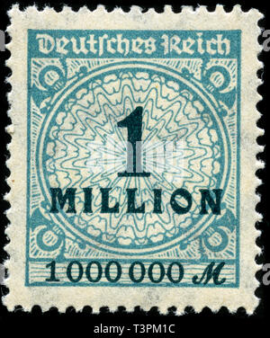 Postage stamp from the German Realm in the Inflation Series series issued in 1923 - Stock Photo