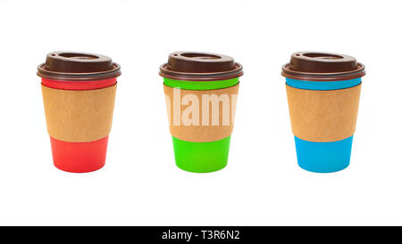 Set of different colored and blank Cardboard Coffee Cups isolated on a white background. - Stock Photo