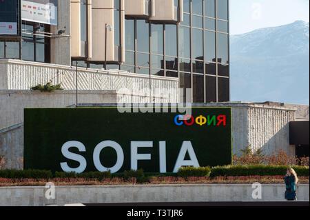 Sofia City Sign Outside The National Palace of Culture, NDK, Sofia, Bulgaria, Europe, - Stock Photo