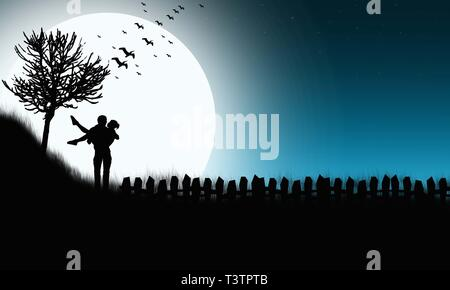 Enamored couple in the moonlight night sky background. Couple Silhouette On Bright Huge Moon In The Meadow. Back View of Happy Couple in Nature. - Stock Photo