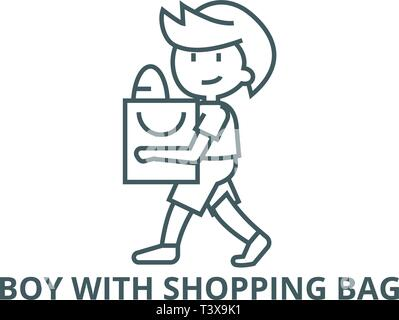 Boy with shopping bag line icon, vector. Boy with shopping bag outline sign, concept symbol, flat illustration - Stock Photo