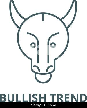 Bullish trend line icon, vector. Bullish trend outline sign, concept symbol, flat illustration - Stock Photo