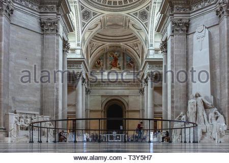 Inside view of the Pantheon. August 29, 2018, Paris, France. Vue intérieure du Panthéon. 29 août 2018, Paris, France. - Stock Photo