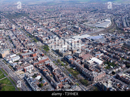 An aerial view of Southport, North West England, UK - Stock Photo