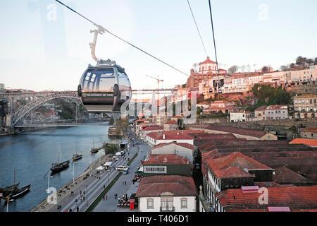 Aerial view of Monastery da Serra do Pilar from Teleférico Vila Nova de Gaia cable car on the River Douro in Porto, Portugal Europe EU  KATHY DEWITT - Stock Photo