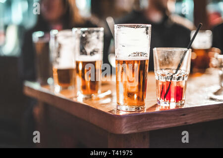 Close-up of drinks on a table - Stock Photo