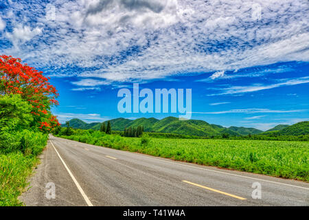This unique image shows the road in nature with hills and trees to the Kaeng Krachan National Park in Thailand - Stock Photo