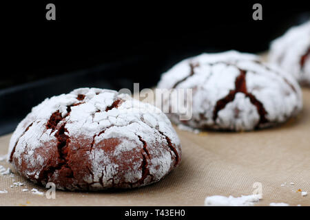 cookies chocolate cracks freshness. tasty dessert concept. cookies for holidayand christmas. - Stock Photo