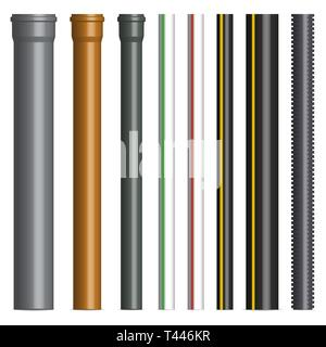Set of various plastic pipes for sewage, gas and water pipe isolated on white background. Front view, vector illustration. - Stock Photo