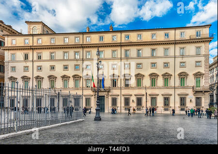 ROME - NOVEMBER 18: Facade of Palazzo Chigi, iconic building in central Rome, Italy, November 18, 2018. It is the official residence of the Prime Mini - Stock Photo