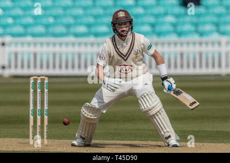London, UK. 14 April, 2019. Ollie Pope, batting as Surrey take on Essex on the final day of the Specsavers County Championship match at the Kia Oval. David Rowe/ Alamy Live News - Stock Photo