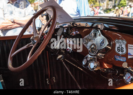 Naples, Florida, USA – March 23,2019: Tan 1930 Ford Model A Deluxe Fordor at the 32nd Annual Naples Depot Classic Car Show in Naples, Florida. Editori - Stock Photo