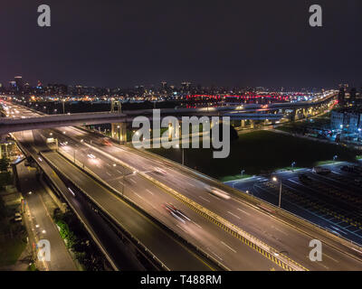 Traffic Aerial View - Traffic concept image, birds eye daytime view use the drone in Taipei, Taiwan. - Stock Photo