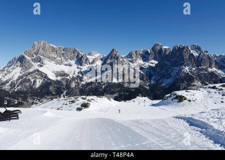 Skier on ski slope, ski resort, San Martino di Castrozza, Trentino, Italy - Stock Photo