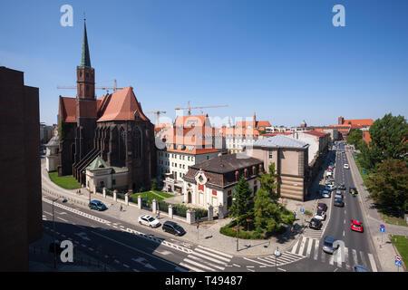 Wroclaw, vue on St. Adalbert's Church and Klemens Janicki street. Poland. - Stock Photo