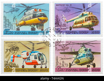 USSR - CIRCA 1980: Collection of 4 stamps printed in USSR, shows russian helicopters, series, circa 1980 - Stock Photo