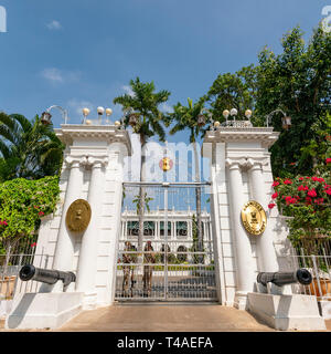 Square view of the Government House in Pondicherry, India. - Stock Photo