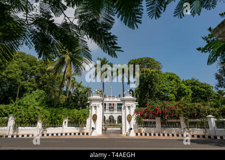 Horizontal view of the Government House in Pondicherry, India. - Stock Photo