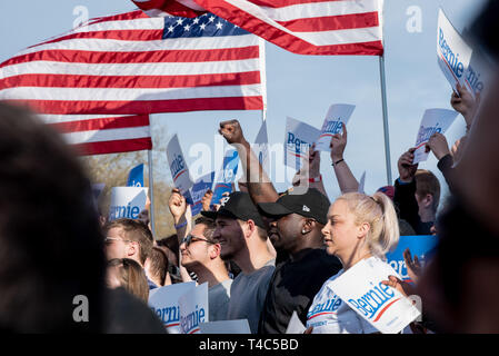 Pittsburgh, PA, USA. 14th Apr, 2019. People holding Bernie signs and USA flags during a Bernie Sanders rally campaign ahead of United States Presidential election. Democratic Presidential candidate Bernie Sanders rally in Pittsburgh, PA on the campaign trail for the bid in the 2020 election. Credit: Aaron Jackendoff/SOPA Images/ZUMA Wire/Alamy Live News - Stock Photo