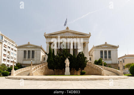 Historic National Library of Greece in the city centre of Athens without tourists on a sunny summer day (Athens, Greece, Europe) - Stock Photo