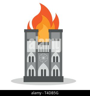 FRANCE - APRIL 15 2019 fire in the cathedral of Notre Dame - vector illustration - Stock Photo