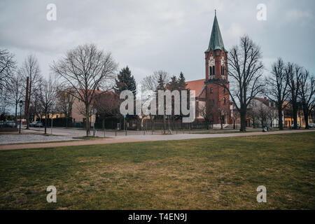 European church in vintage style on village classic background - Stock Photo