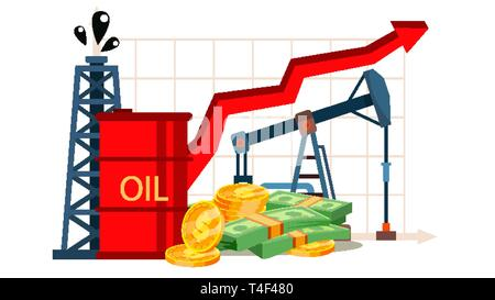 Petroleum Cost Inflation, Financial Literacy Vector Drawing - Stock Photo