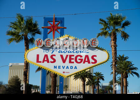 LAS VEGAS, USA - OCTOBER 16, 2018: Welcome to the Fabulous Las Vegas sign, U.S. state of Nevada - Stock Photo