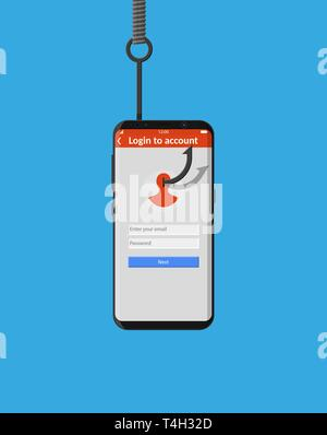 Login into account and fishing hook. Internet phishing, hacked login and password. Computer netwrok and internet security concept. Anti virus, spyware - Stock Photo