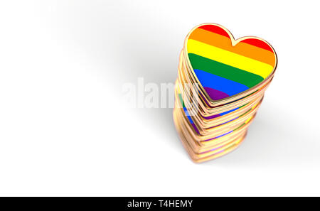 Golden hearts with rainbow flag inside stack or pile. Gay pride, LGBT, bisexual, homosexual symbol concept. Isolated on white background with copy spa - Stock Photo