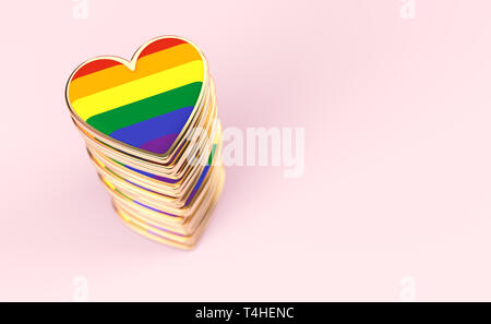 Golden hearts with rainbow flag inside stack or pile. Gay pride, LGBT, bisexual, homosexual symbol concept. Isolated on pastel pink background with co - Stock Photo