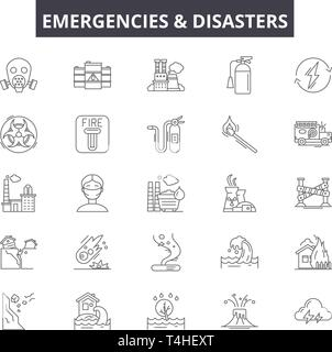 Emergincies and disasters line icons, signs set, vector. Emergincies and disasters outline concept illustration: disaster,danger,emergency,water,fire - Stock Photo