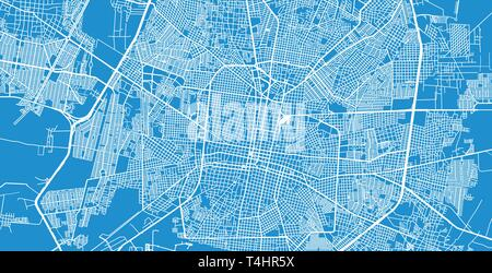 Urban vector city map of Merida, Mexico - Stock Photo