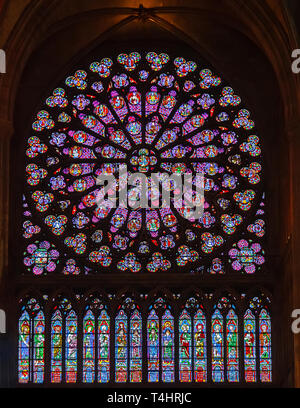 PARIS, FRANCE - APRIL 25: Stained glass window in Cathedral Notre Dame de Paris on april 25, 2011 in Paris. - Stock Photo