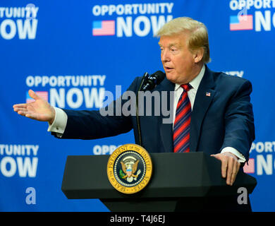 Washington, United States Of America. 17th Apr, 2019. United States President Donald J. Trump makes remarks at an Opportunity Zone conference with state, local, tribal, and community leaders in the South Court Auditorium of the White House in Washington, DC on April 17, 2019. Credit: Ron Sachs/CNP | usage worldwide Credit: dpa/Alamy Live News - Stock Photo
