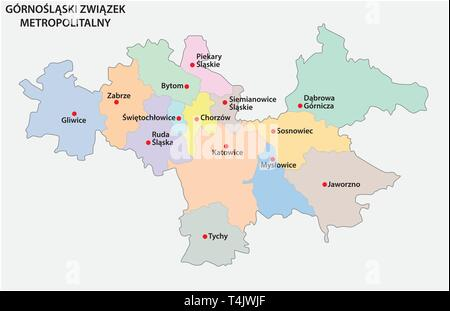 Map of the Metropolitan Association of Upper Silesia and the Dabrowa Basin in Poland - Stock Photo