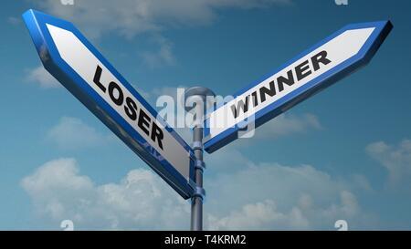 Loser - Winner street signs - 3D rendering illustration - Stock Photo