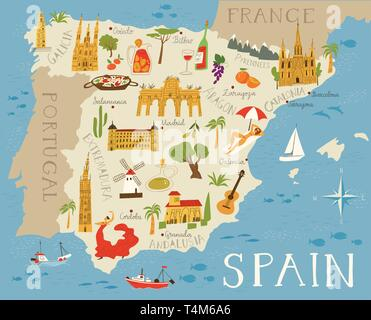 Vector high detailed vector map of Spain with cities and symbols of Spain. - Stock Photo