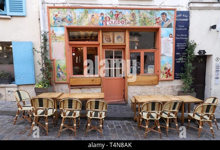 The traditional french cafe Poulbot, Paris, France. - Stock Photo