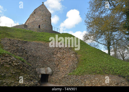 La Hougue Bie  Passage Grave is one of the ten oldest buildings in the world,The 6000 year-old burial site  is one of the best preserved remnants of t - Stock Photo