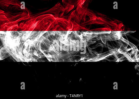 Yemen smoke flag isolated on black background - Stock Photo